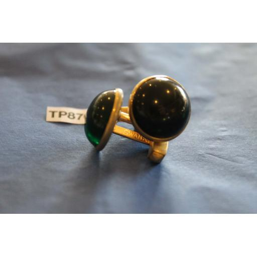 Vintage Gold Metal Cuff Links Emerald Green Lucite Moonstones