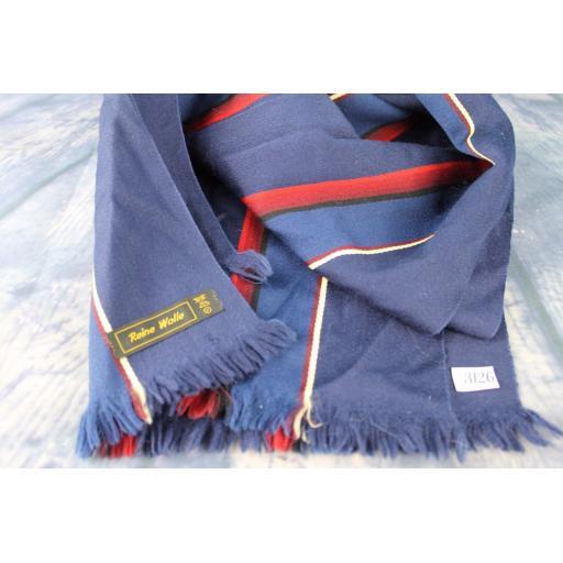 Vintage Pure Wool Striped Blue & Burgundy Scarf