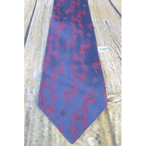 "Vintage Blue Tie With Deer / Stag Red Woven Repeat Pattern 4"" wide 65% Acetate 35% Rayon!"