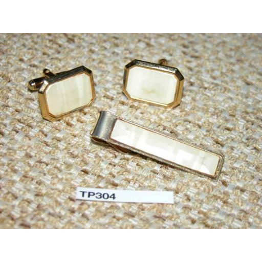 Vintage 1950s Gold Metal & Pearlised Lucite Cuff Links & Tie Clip Set