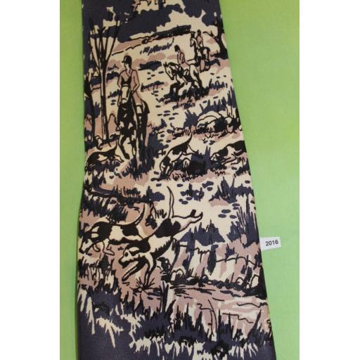 """Superb Vintage 1940s/50s Haband Hunting Scene Horses Dogs Tie 4"""" Wide Lindyhop/Swing/Zoot Suit/Rat Pack"""