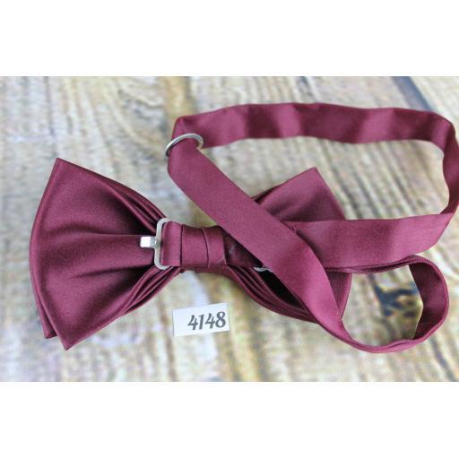 Burgundy Satin Pre-Tied Bow Tie Adjustable
