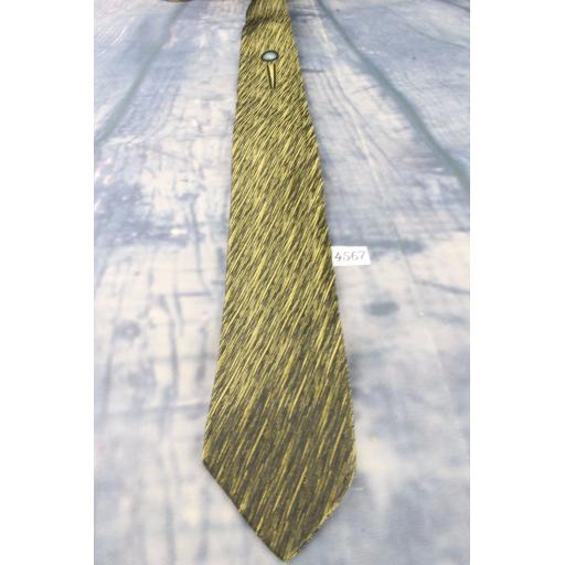 Vintage Retro Skinny Mod Bergner's All Silk Gold/Black/Cornflower Tie