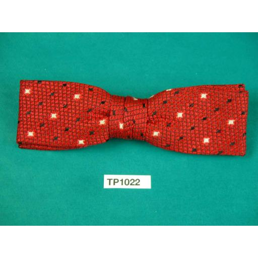 Vintage Boy's Deep Red Cream & Black Stars Square End Clip On Bow Tie