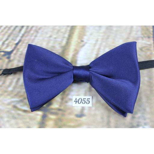 Vintage Navy satin Pre-Tied Bow Tie Adjustable to Fit All Collar Sizes