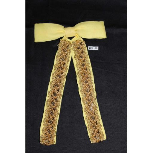 Vintage Yellow & Gold Metallic Sequin Clip On Western/Cowboy/Kentucky Bow Tie