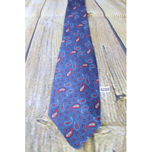 "Superb Vintage 1940s/1950s All Silk Superba Hub Clothiers L.A. Blue Burgundy Tie 3.5"" Wide"