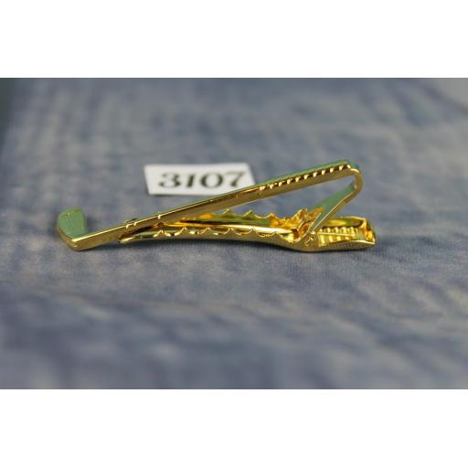 Gold Metal Tie Clip Golf Club