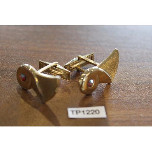 Vintage Gold Metal Cufflinks Iridescent Glass Stone