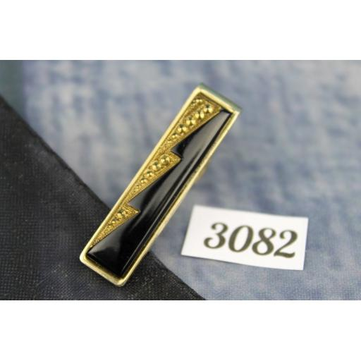 Vintage Gold Metal Tie Clip Black Onyx or Glass Inlay