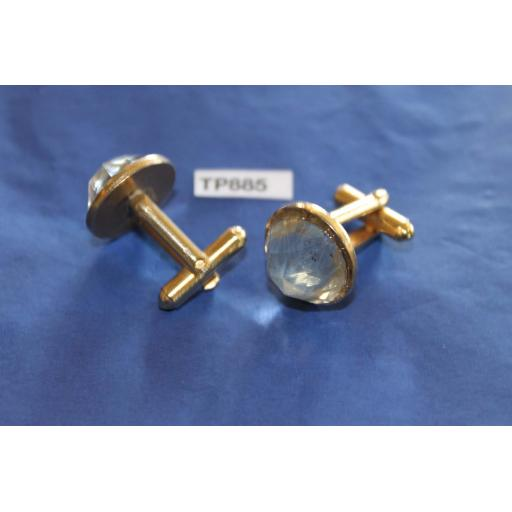 Vintage Cuff Links Large Clear Round Faceted Glass Stones Gold Metal Settings