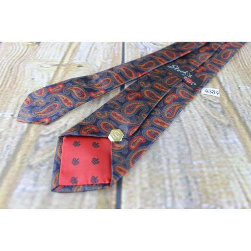 Vintage Stecks All Silk Foulard Hand Blocked 1960s Skinny Mod Era Paisley Tie