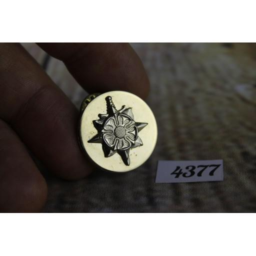 "Vintage Gold Metal large Tudor Rose Sword & Star Tie Pin or Collar Badge 1"" Diameter Masonic?"