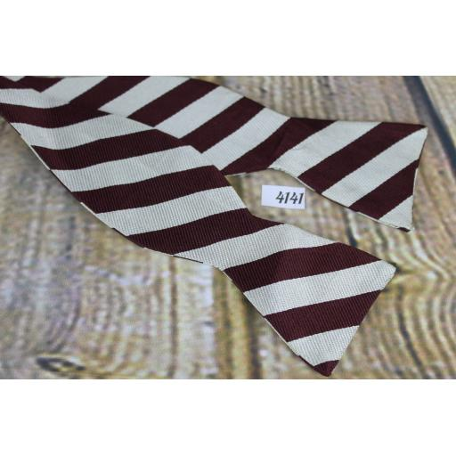 Vintage Raleighs 100% Silk Self Tie Straight End Thistle Bow Tie Burgundy & Ivory Striped
