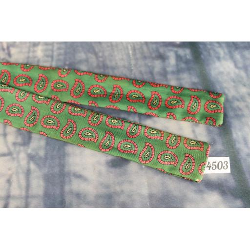 Superb Vintage All Silk Green Pink Paisley Pattern Self Tie Square End Skinny Bow Tie