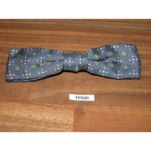Vintage Clip On Bow Tie Square End Grey/Green/Cream/Yellow Pattern