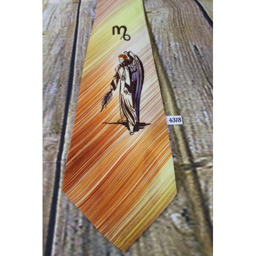 "Superb Vintage 1940s 1950s Tie Virgo Star Sign Astrological 4.5"" Wide Lindyhop/Swing/Zoot Suit/Rat Pack"