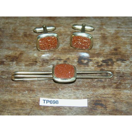 Vintage Cuff Links & Tie Clip Set With Goldstone