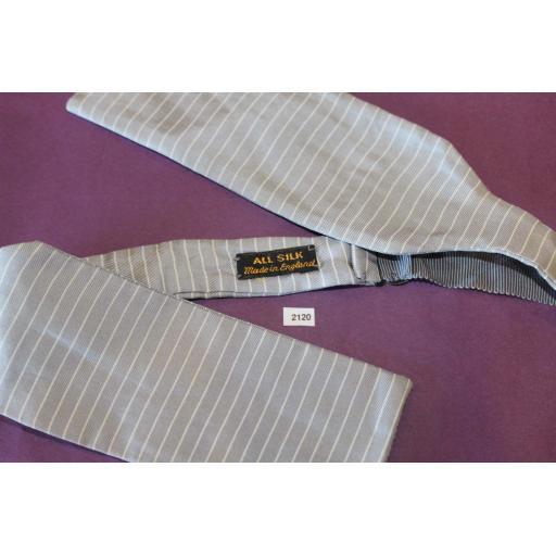 Vintage English 100% Silk Self Tie Straight End Bow Tie Grey Stripe