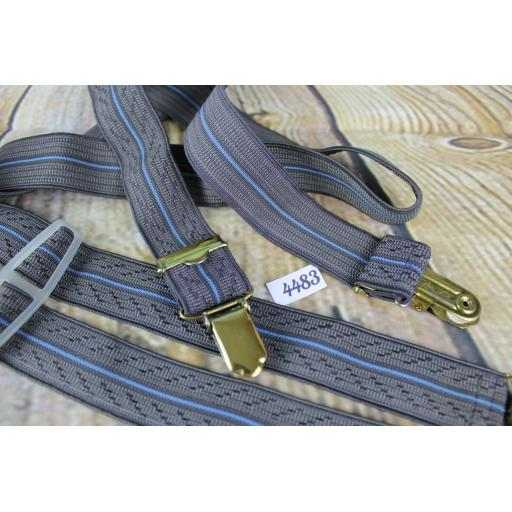 "Grey and Blue Elasticated Braces Gold Metal Clips Adjustable Length 1"" Wide"