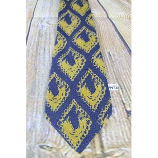 "Vintage Simpsons of Piccadilly Gold and Blue Silk Tie 4"" Wide"
