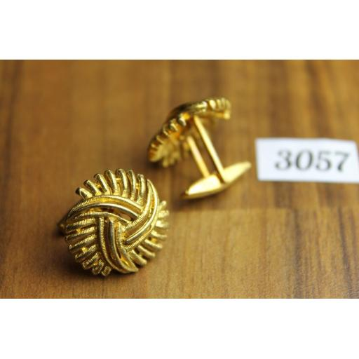 Vintage Gold Tone Metal Large Knot Cuff Links