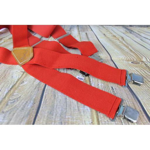 "2"" Wide Red Brimarc Elasticated Heavy Duty Braces Jeans Or Work Trousers Leather Back Patch"