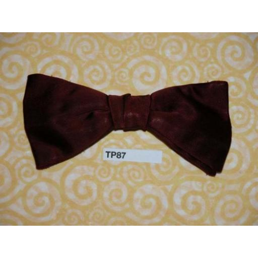 Vintage Clip On Bow Tie Plain Burgundy Satin Small Butterfly