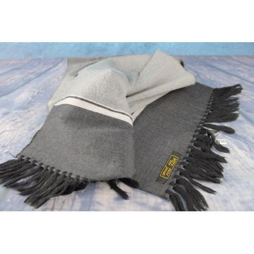 Vintage Wool & Silk Charcoal & Silver Striped Scarf