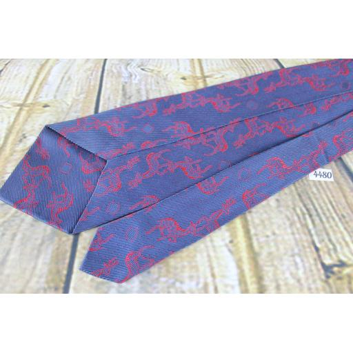 """Vintage Blue Tie With Deer / Stag Red Woven Repeat Pattern 4"""" wide 65% Acetate 35% Rayon!"""