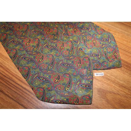 Vintage Green/Navy/Burgundy Paisley Cravat Retro Mod