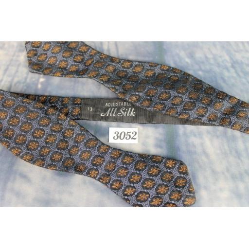 Vintage 100% Silk Grey Black & Burnt Orange Patterned Self Tie Arrow End Bow Tie