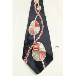 "Pilgrim Cravats Tie 1940s/50s Vintage Acetate Navy Red Grey 4"" Wide"