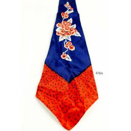 "Swing Tie 1940s/50s Vintage 4.75"" Wide Royal Blue & Red Jacquard"