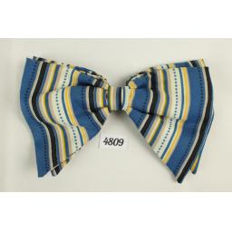 Drop End Bow Tie Vintage Clip On Blue Ivory Gold Striped