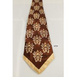 "McQuade Tie 1950s Vintage Brown Patterned Jacquard 4"" Wide"