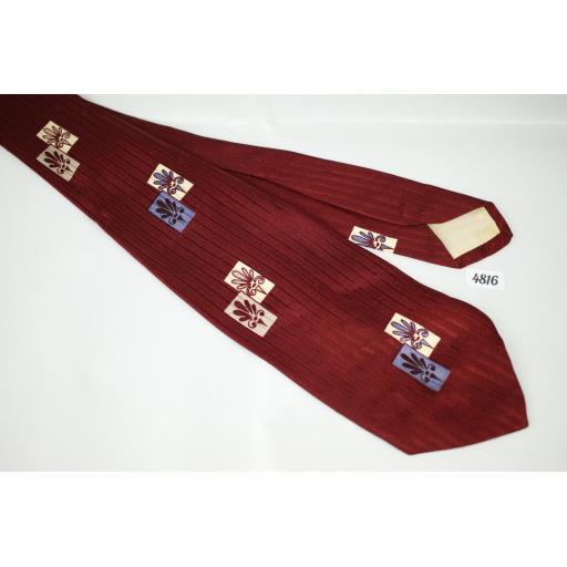 Superb Vintage 1950s Lepetich & Mandich Burgundy Jacquard Tie