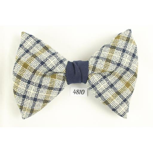 Bow Tie Vintage Clip On Ivory Olive Blue Plaid Two Tone