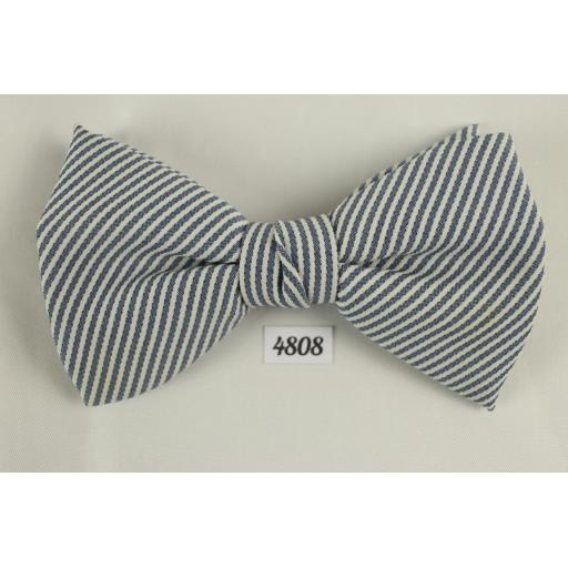 Clip-On Bow Tie Vintage Blue White Pin Striped