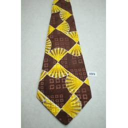 Jordan Marsh Brown and Gold Fan Print Jacquard Vintage Swing Tie 1940s / 50s