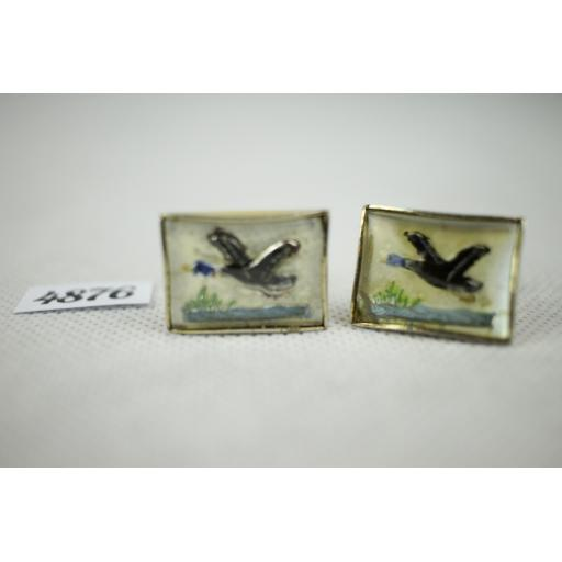 Vintage French Duck Enamel And Glass Gold Metal Push Through Cuff Links