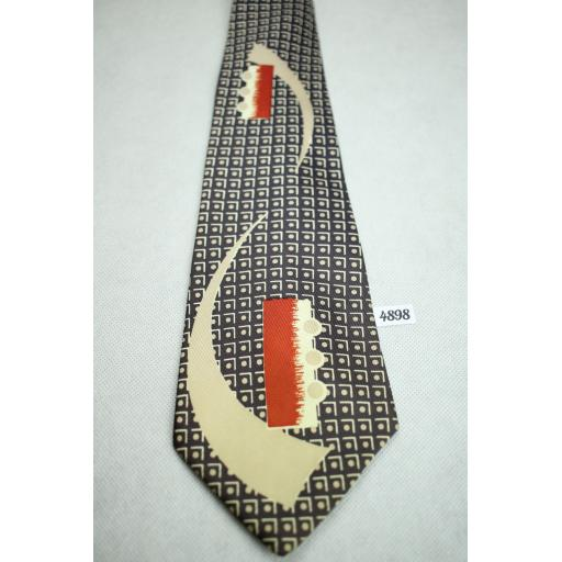 A Cutter Cravat Brown Taupe and Red Vintage Swing Tie 1940s / 50s