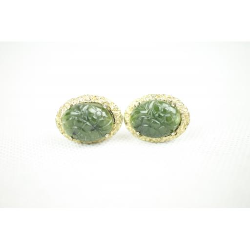 Vintage Anson Carved Oval Green Stone Leaf Pattern Mount Cuff Links