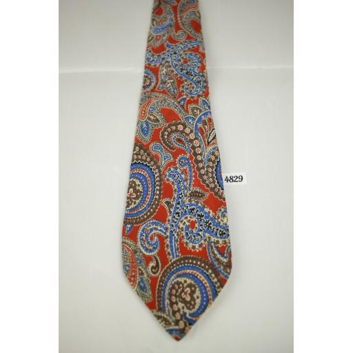 1950s Vintage Hand Tailored Red & Blue Paisley Tie