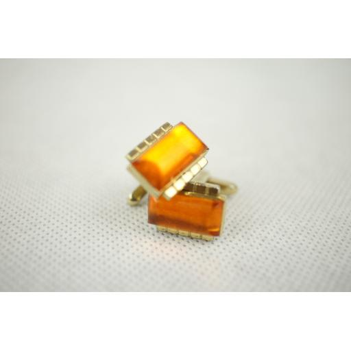 Vintage Hickok Amber Lucite Gold Metal Push Through Cuff Links