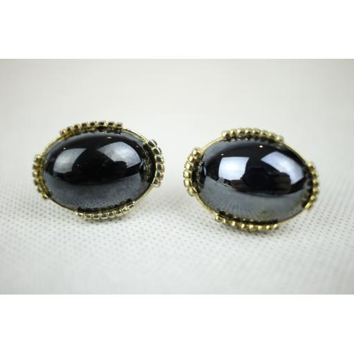 Vintage Black Oval Glass Cabochon Gold Metal Mount Cuff Links