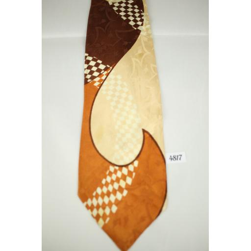 Panel Cravat Brown, Peach & CopperJacquard Vintage Swing Tie 1940s / 50s