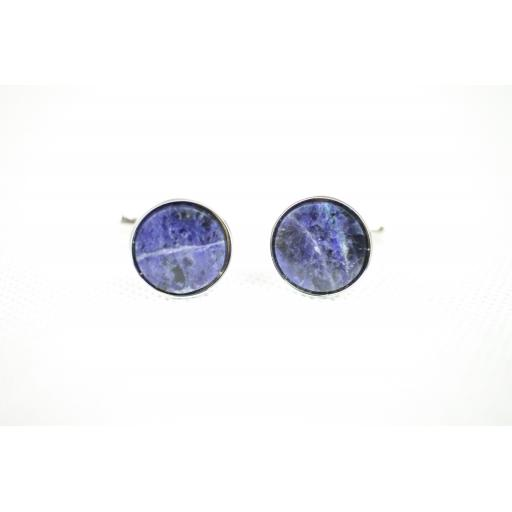 Vintage Blue Marble Silver Metal Push Through Cuff Links