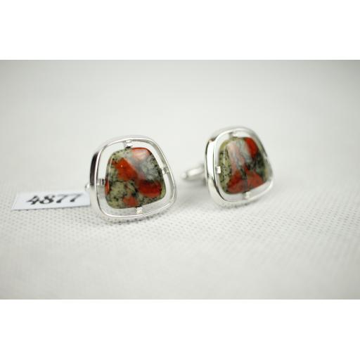 Vintage Hickok Marbled Stone Silver Metal Mount Cuff Links