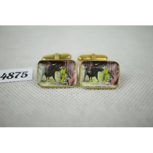 Vintage French Bull Fighter Enamel And Lucite Gold Metal Push Through Cuff Links